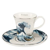 Filiżanki espresso Great Wave Silver 100ml 2 szt. Hokusai Katsushika Goebel