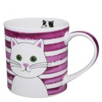 Kubek Orkney Stripy Cats Pink 350ml Dunoon