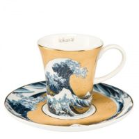 Filiżanki espresso Great Wave Gold 100ml 2 szt Hokusai Katsushika Goebel